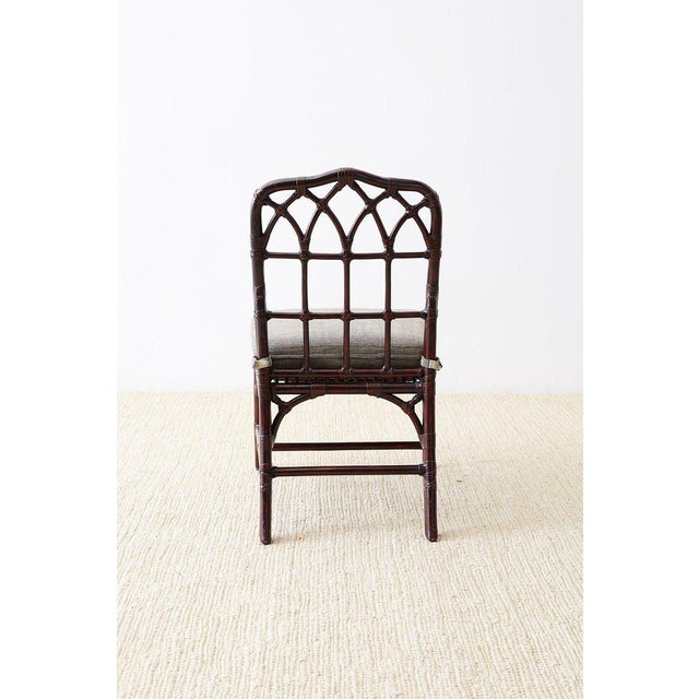 Animal Skin Set of Four McGuire Lacquered Bamboo Dining Chairs For Sale - Image 7 of 13