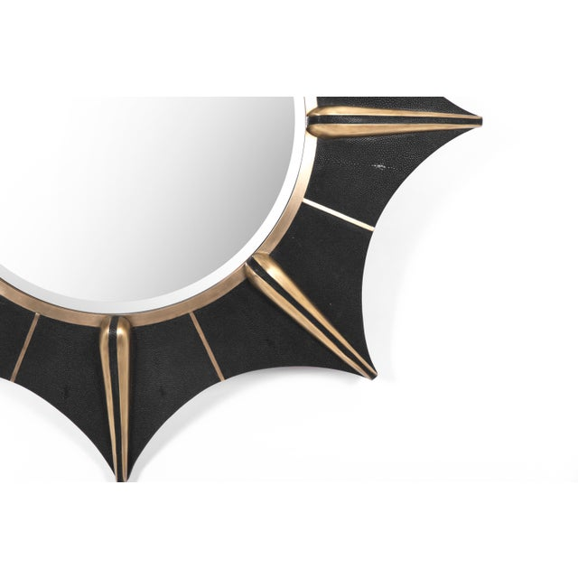 Art Deco Star Mirror in Black Shagreen and Bronze-Patina Brass by R & Y Augousti For Sale - Image 3 of 5