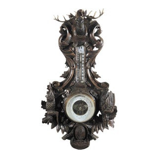 19th Century Black Forest Hunt Hand Carved Barometer - Thermometer For Sale