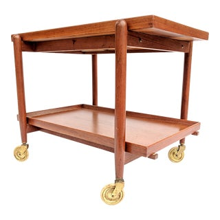 1960s Danish Modern Poul Hundevad Teak Bar Cart For Sale
