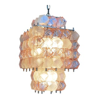 Mid-Century Modern Cubic Pink/Transparent Murano Glass Chandelier, Mazzega Style For Sale