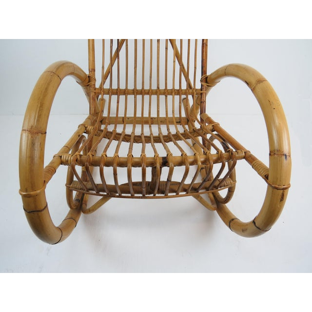 Vintage Franco Albini Style Bamboo Rocking Chair For Sale - Image 9 of 13