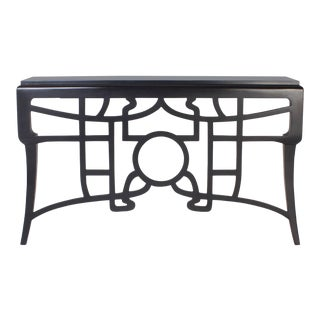Chinoiserie Style Black Lacquered Wall-Mounted Console For Sale