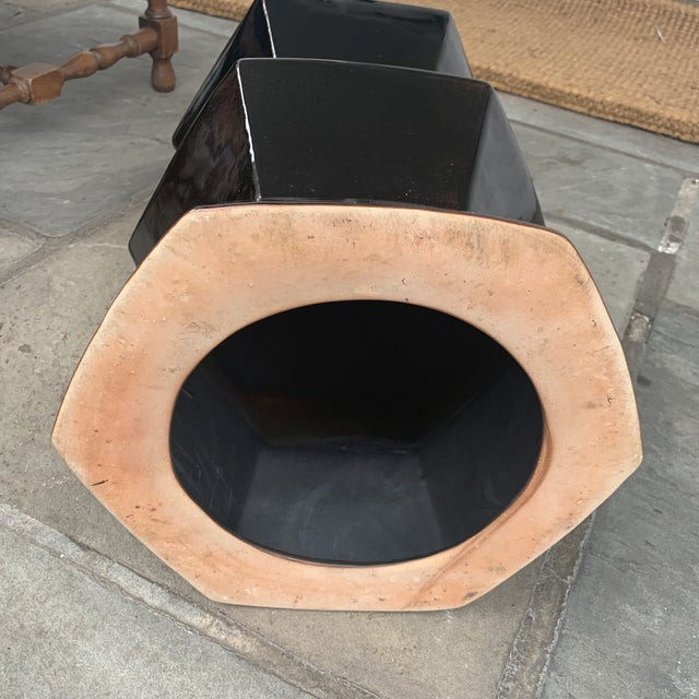 2020s Modern Black Hexagonal Terra-Cotta Glazed Garden Stool For Sale - Image 5 of 7