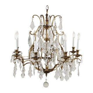 1950s Traditional 8 Arm Crystal Pendalogue & Tear Drop Prism Chandelier For Sale