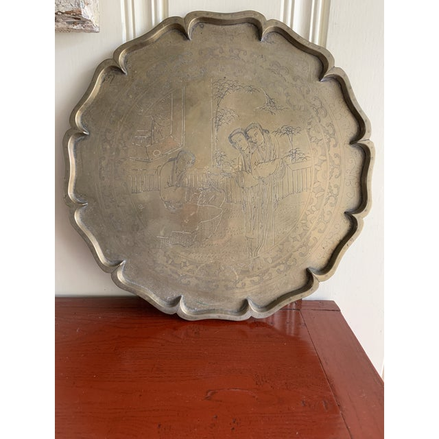 Midcentury Asian Chinoiserie Brass Etched Tray For Sale - Image 13 of 13