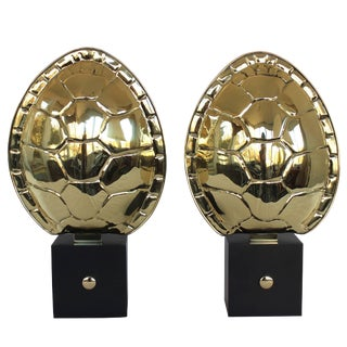 Pair of Brass Turtle Shell Sconces by Chapman For Sale
