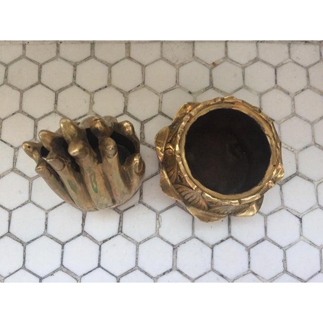 Hands on Lotus Brass Incense Burner - Image 4 of 8