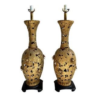 Regency James Mont Style Pierced Bronze Oversized Table Lamps, Pair For Sale