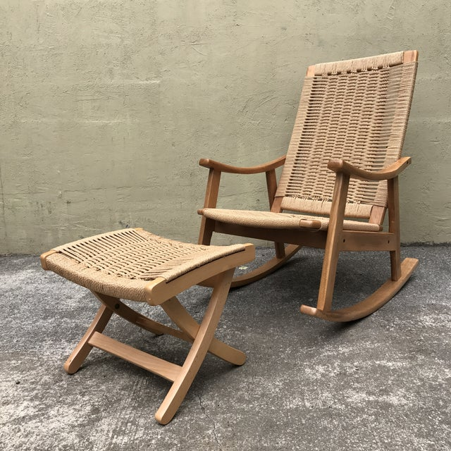 Hans Wegner Style Rocking Chair & Ottoman - A Pair - Image 2 of 11