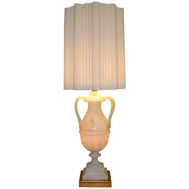 Circa 1950 Hand-Carved Italian Hollywood Regency Alabaster Lamp For Sale - Image 11 of 11