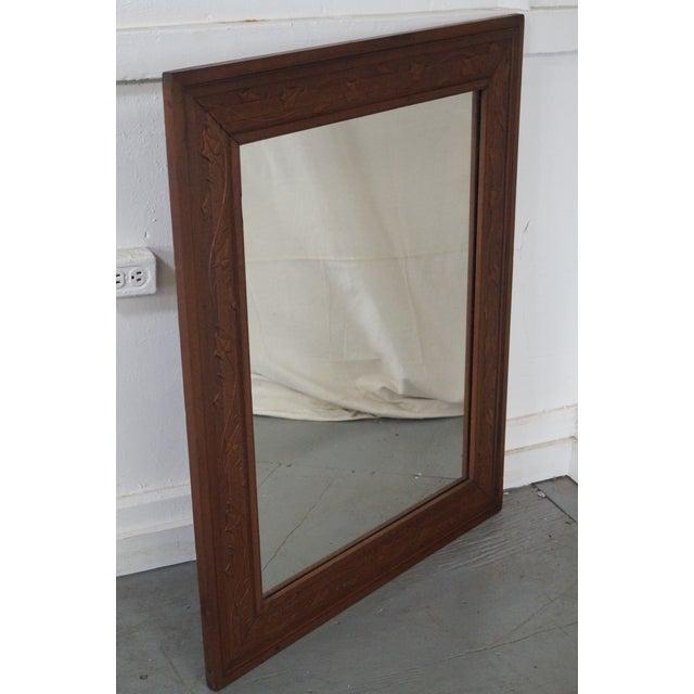 Vintage Incised Carved Vine Leaf Frame Wall Mirror - Image 5 of 10