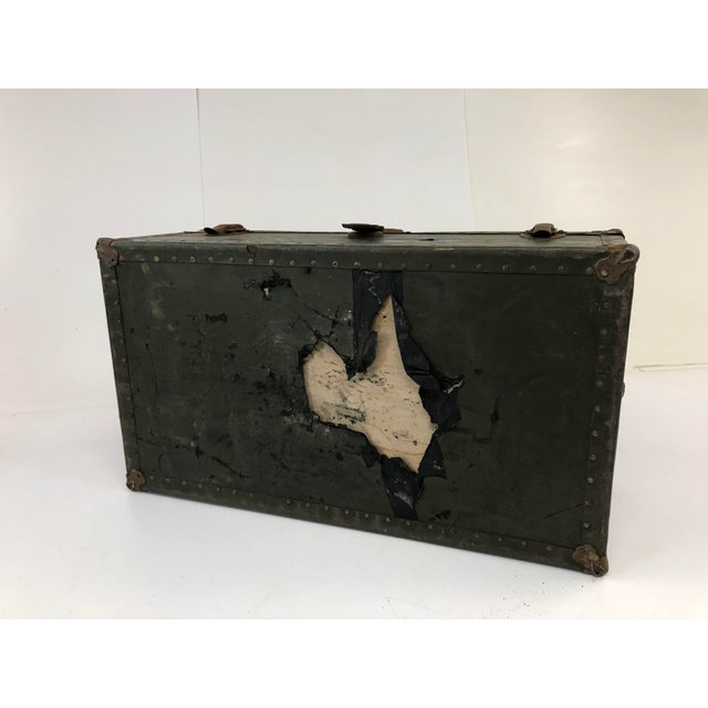 Vintage Industrial Green Wood Military Foot Locker Trunk W Tray For Sale - Image 6 of 13