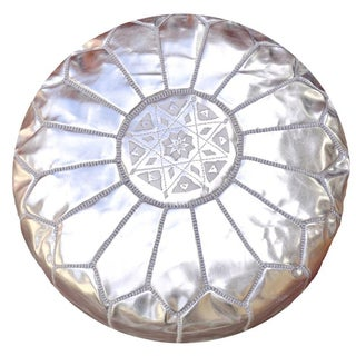 Silver Moroccan Leather Pouf For Sale