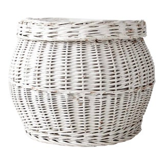 Vintage White Wicker Basket For Sale