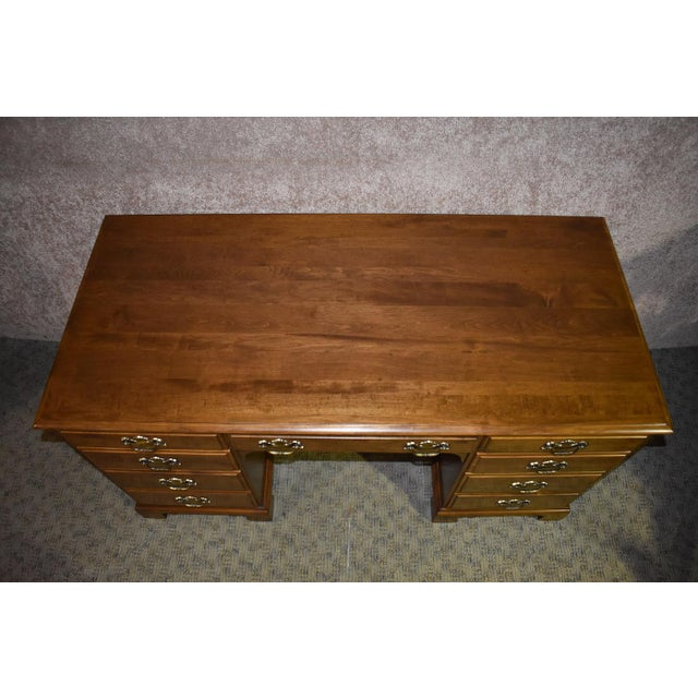 Ethan Allen 1960s Early American Ethan Allen Executive Desk For Sale - Image 4 of 12