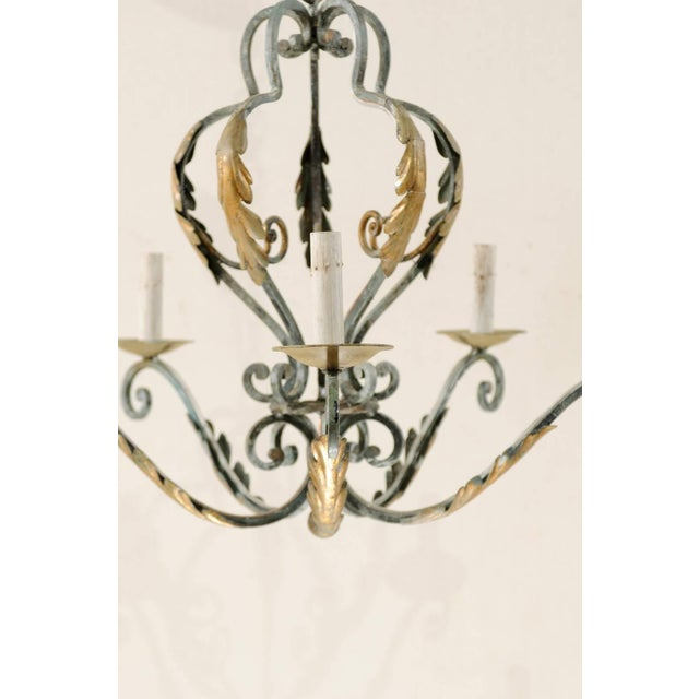 French Five-Light Painted Iron Chandelier Featuring Lovely Acanthus Leaf Motifs For Sale - Image 4 of 8