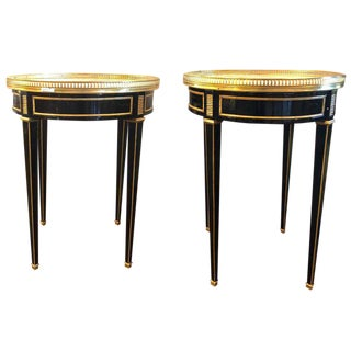 Ebony Pierced Bronze Galleried Bouillotte / End Tables Manner of Jansen - a Pair