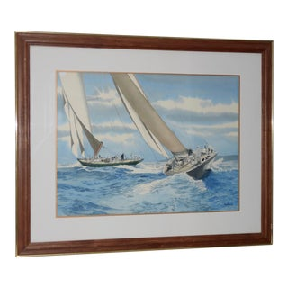 """Nautical """"The Regatta"""" Watercolor Painting by Rich Myers C.1989 For Sale"""