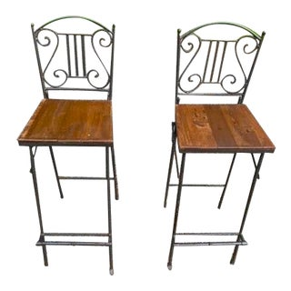 Vintage Metal and Wood Folding High Stools - a Pair For Sale
