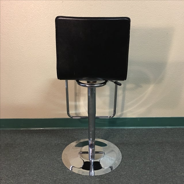 Leather & Polished Steel Adjustable Bar Stools - a Pair - Image 6 of 10