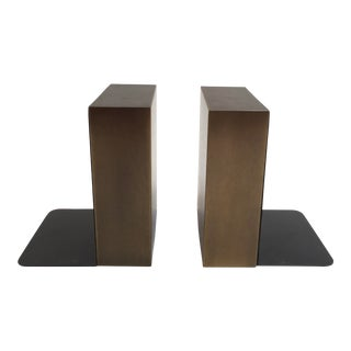 Modern Brushed Antique Brass Bookends - a Pair For Sale