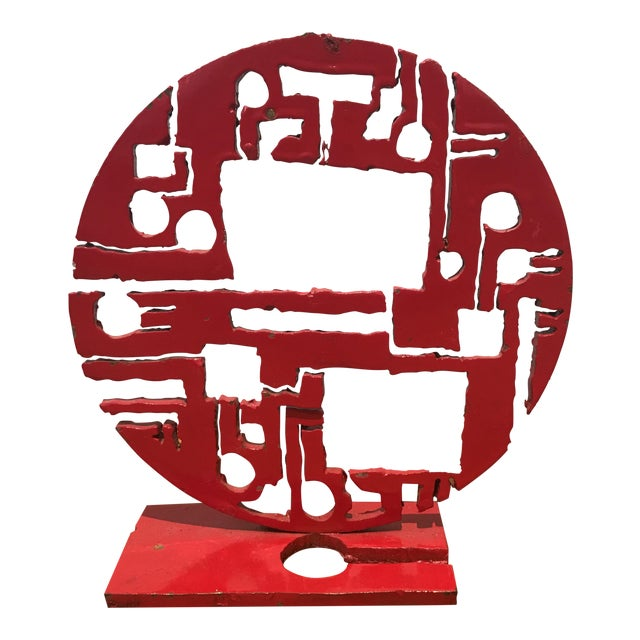 Red Metal Brutalist Sculpture - Image 1 of 5