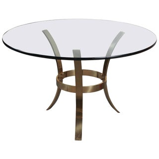 1970s Modern Brass and Glass Tripod Entry Table For Sale