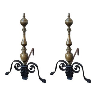 Italian Baroque Iron and Bronze Andirons - A Pair For Sale