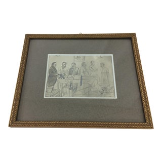 19th Century Pencil Medical Drawing For Sale