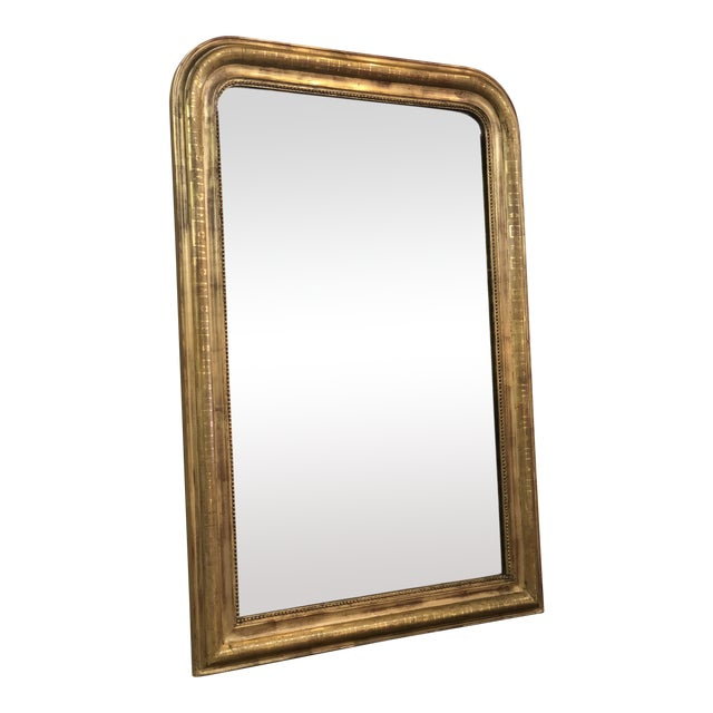 19th Century Antique French Louis Philippe Gold Leaf Mirror For Sale