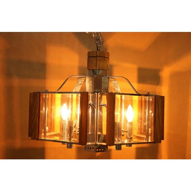 Fredrick Ramond Fredrick Ramond Lighting Oak, Chrome and Glass Pendant Chandelier For Sale - Image 4 of 13