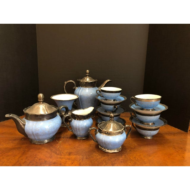 Victorian Kerman Blue & Silver Tea and Coffee - Set of 18 For Sale - Image 10 of 10