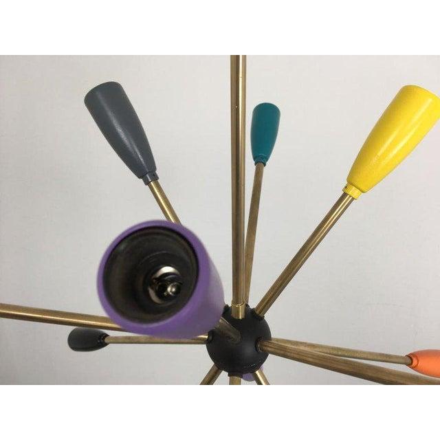 Gold 1950s Sputnik Pendant Chandelier Lamp in Different Colors For Sale - Image 8 of 12