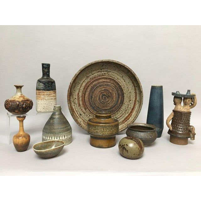 Blue Tue Poulsen Danish Modern Stoneware Studio Pottery Bottle Vase For Sale - Image 8 of 9