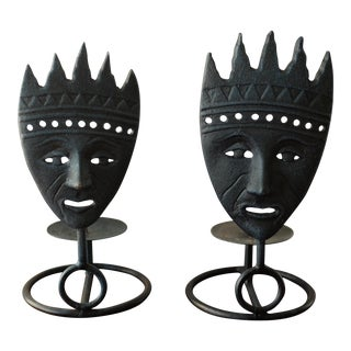 Tribal Mask Pillar Candle Holders Pair For Sale
