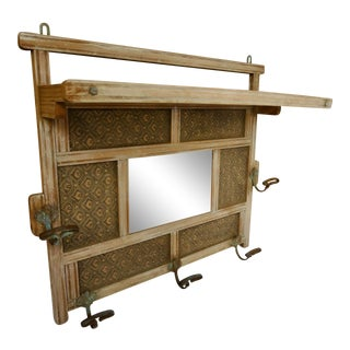 French Bleached Wood Wall Rack For Sale