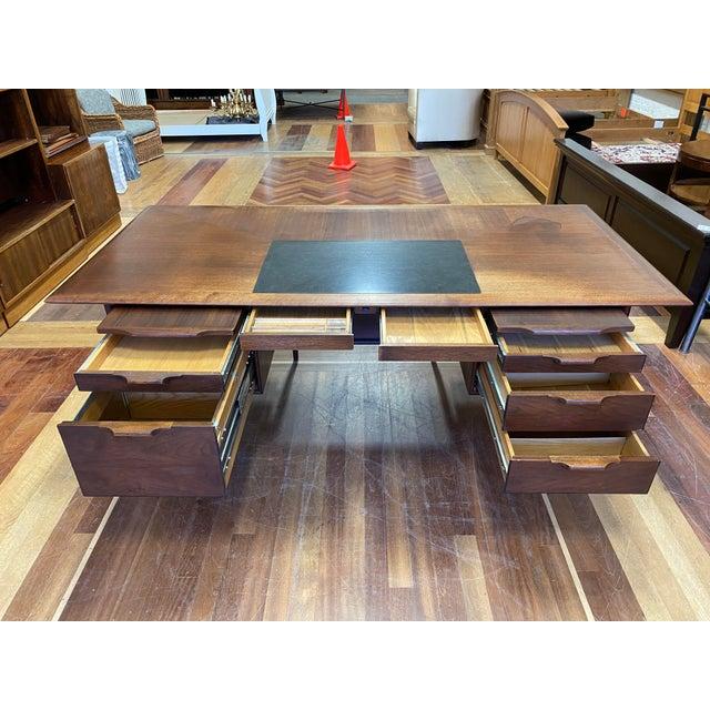 Wood Mid 20th Century Alma Walnut + Mahogany Castilian Series Desk For Sale - Image 7 of 13