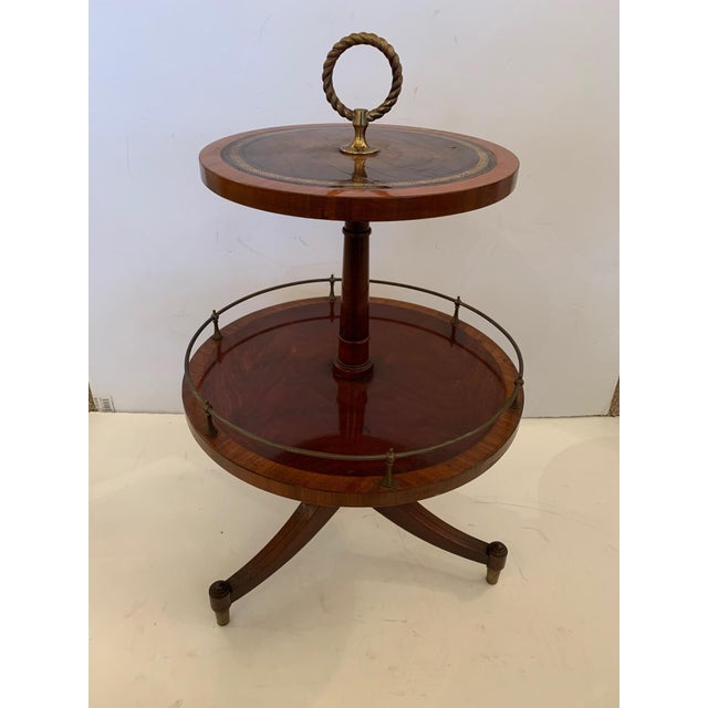 Brown Antique 2 Tier Mahogany and Tooled Leather Side Table For Sale - Image 8 of 13