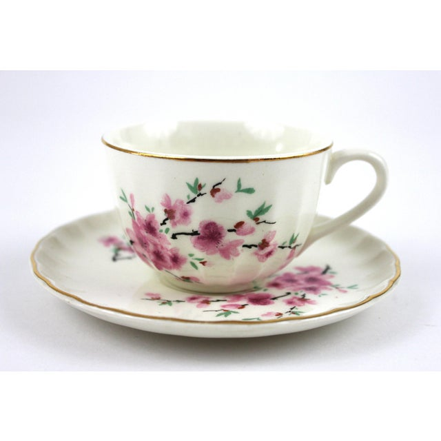 1940's Peach Blossoms Bolero China Teacups & Saucers - Set of 6 For Sale - Image 4 of 6