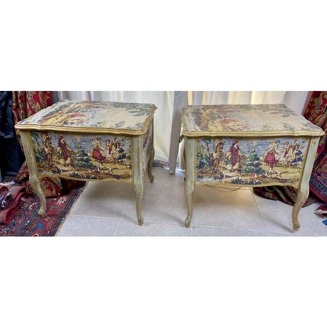 1960s 1960s Night Stands Decoupaged With Idyllic Scene - a Pair For Sale - Image 5 of 11