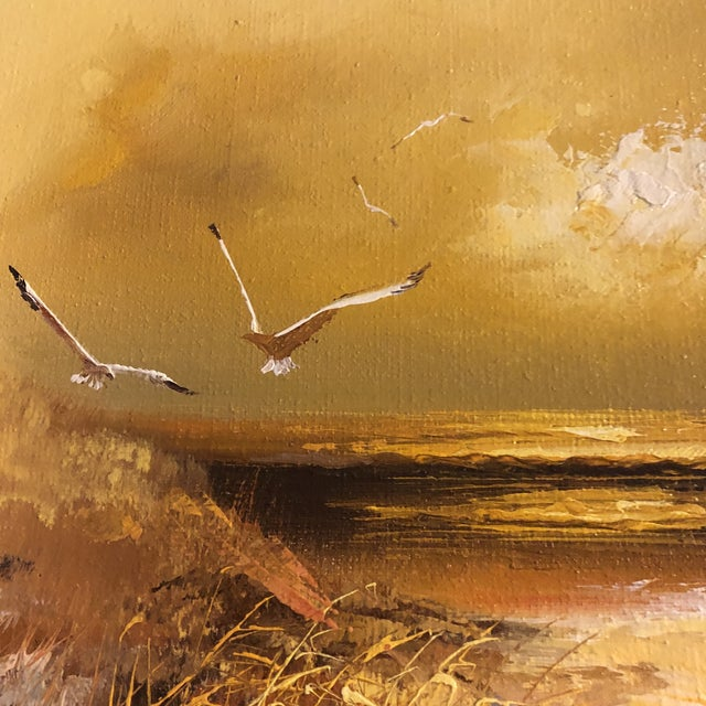 Contemporary Original Vintage 1960's Seascape Painting With Lighthouse & Seagulls Signed For Sale - Image 3 of 6