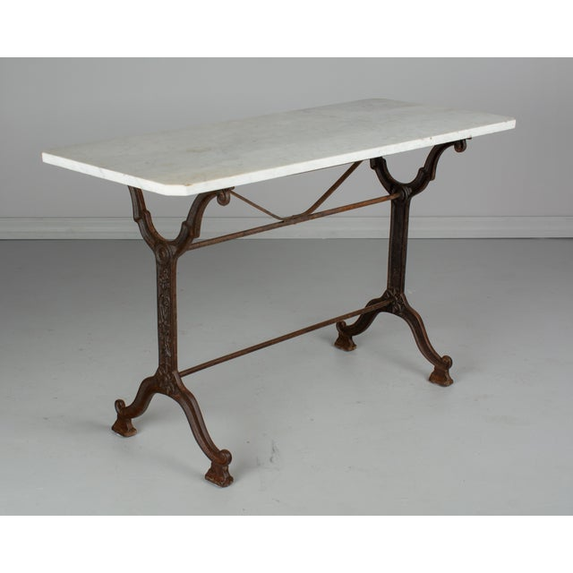1920s 1920s Antique French Cast Iron Marble Top Bistro Table For Sale - Image 5 of 8