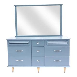 Mid-Century Blue Dresser With Mirror