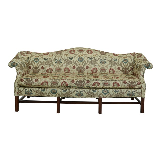 Chippendale Style Quality 8 Legged Mahogany Camelback Sofa For Sale