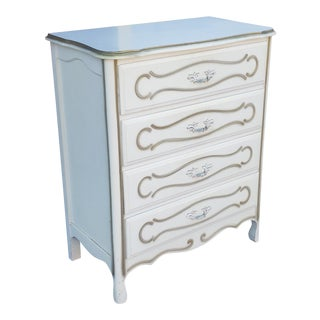 Painted White French Provincial Chic 1960s Bedroom 4 Drawer Chest of Drawers For Sale