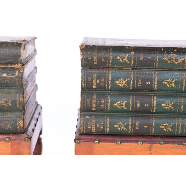 Green French Faux Book Box End Tables on Turned Fruitwood Legs, Circa 1880 - a Pair For Sale - Image 8 of 9