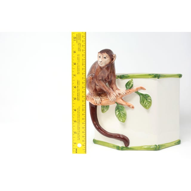 Octagonal Ceramic Planter With Monkey and Bamboo - Made in Italy For Sale - Image 10 of 11