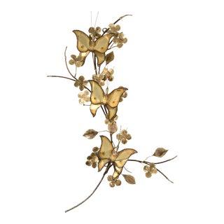 Mid Century Brass Butterflies on Tree Branch Wall Sculpture For Sale