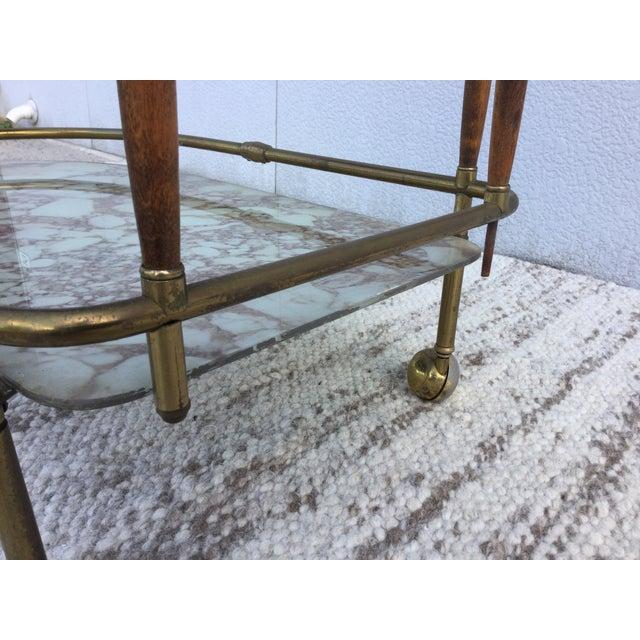 1950s Italian Brass & Walnut Bar Cart - Image 10 of 11